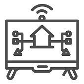 Monitor with building and connections line icon, smart home symbol, modern house technology system vector sign on white background, TV display with home icon outline style. Vector graphics