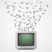Monitor with flying letters sign. Vector Illustration