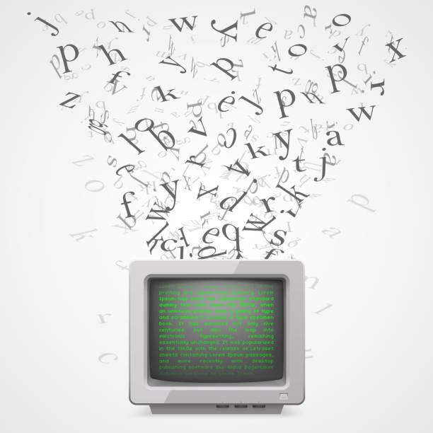 monitor mit fliegen briefe - buchstabenschreibweise stock-grafiken, -clipart, -cartoons und -symbole