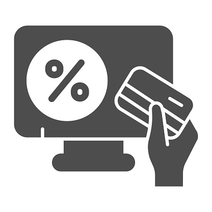 Monitor with percent and credit card in hand solid icon, Black Friday concept, Online store sign on white background, hand with credit card and shopping on screen icon in glyph. Vector.