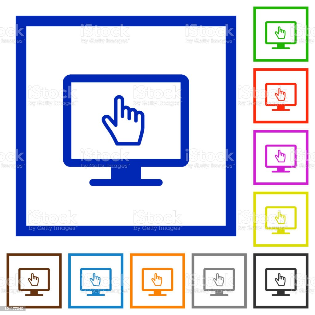 Monitor with pointing cursor flat framed icons royalty-free monitor with pointing cursor flat framed icons stock vector art & more images of appliance