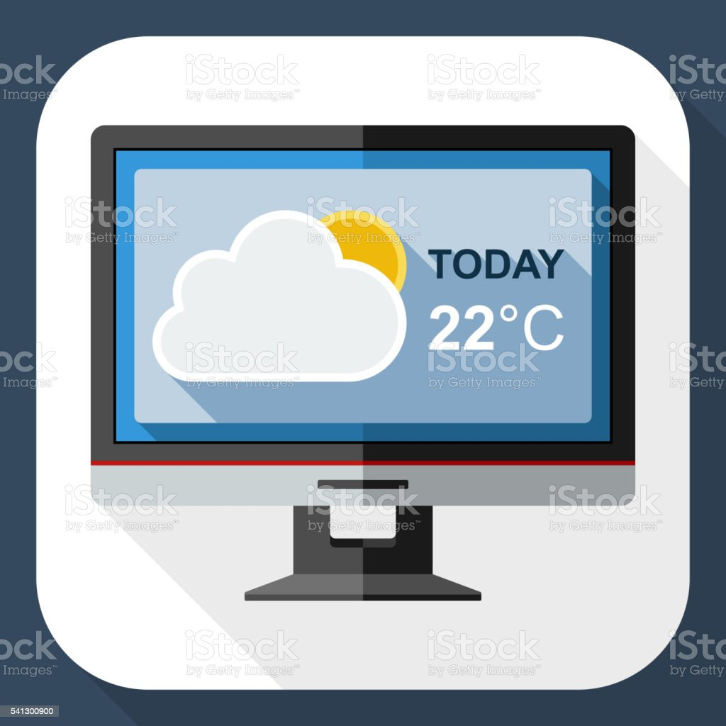 Monitor With Weather Widget On The Screen With Long Shadow Stock  Illustration - Download Image Now