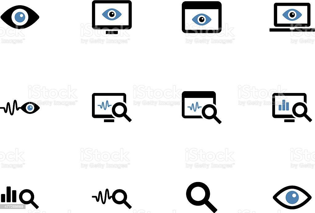 Monitoring duotone icons on white background. vector art illustration