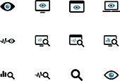 Monitoring duotone icons on white background.