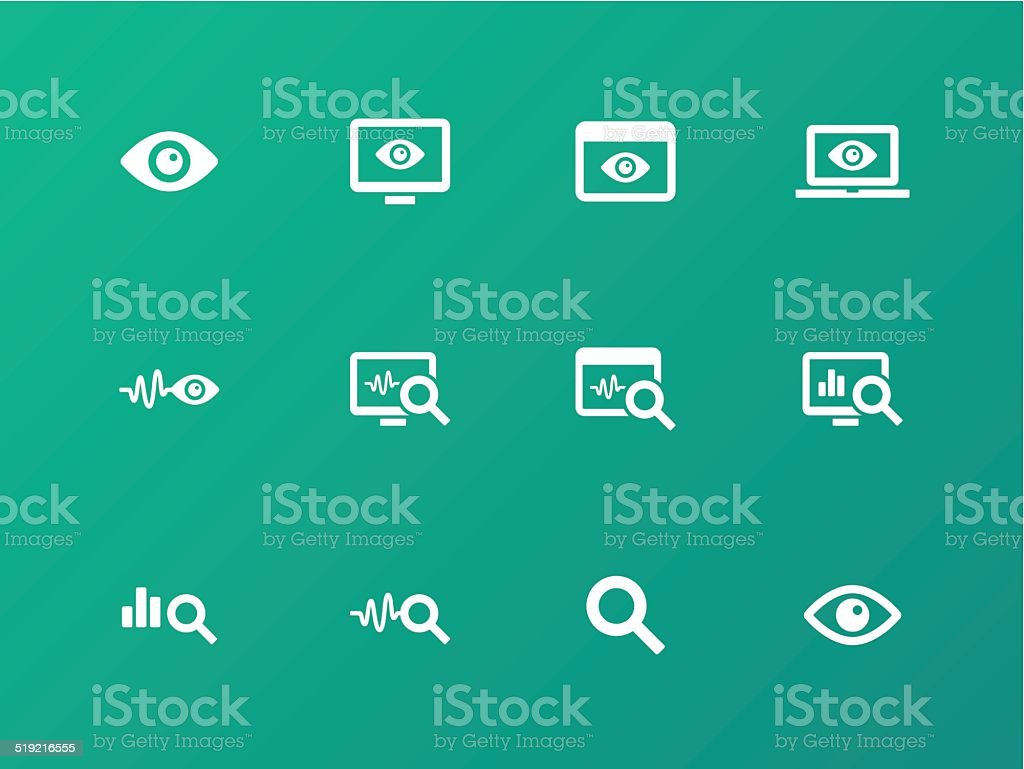 Monitoring icons on green background. vector art illustration