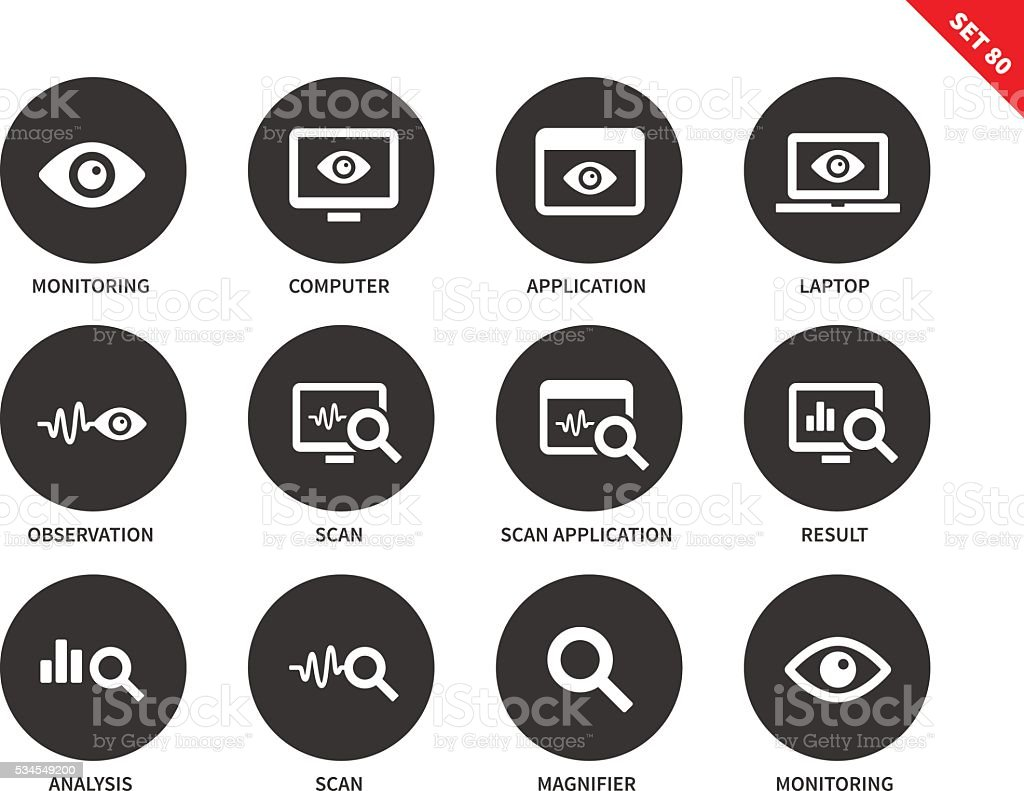 Monitoring icons on white background vector art illustration