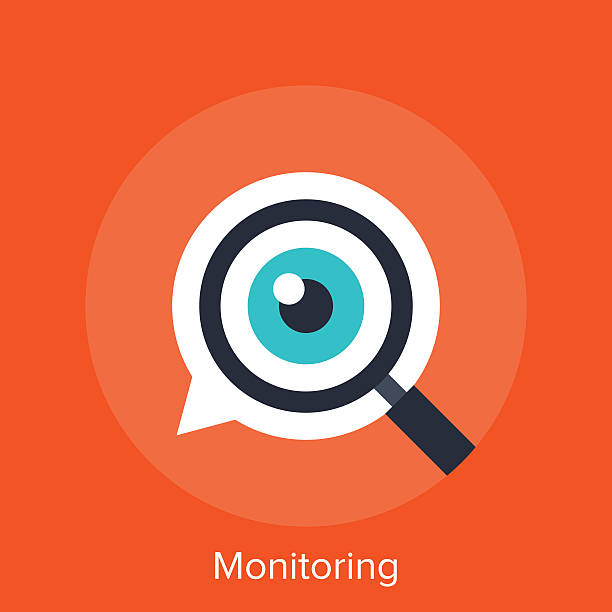 Monitoring Vector illustration of monitoring flat design concept. the bigger picture stock illustrations