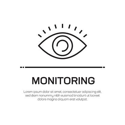 Monitoring Vector Line Icon - Simple Thin Line Icon, Premium Quality Design Element