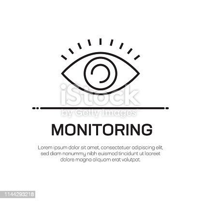Monitoring Vector Line Icon - Simple Thin Line Icon, Premium Quality Design Element