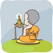 monk cute vector character