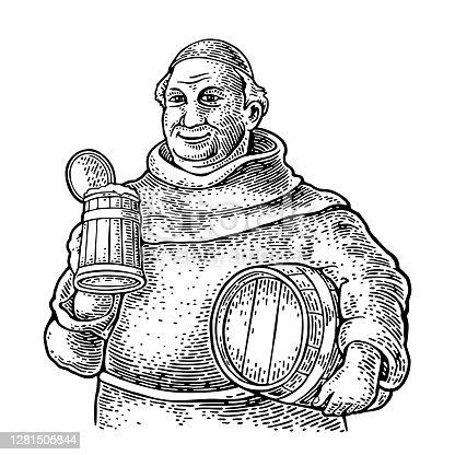 istock Monk holding wood beer mug and barrel. Vintage vector black engraving 1281505844