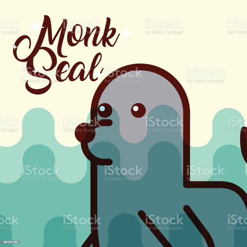monk seal sea life cartoon - Royalty-free Animal stock vector