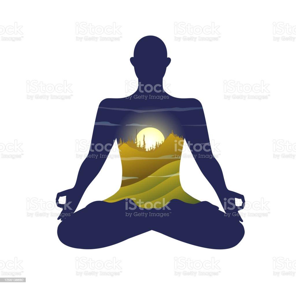 Monk Silhouette Practising Yoga Lotus Pose Morning Bright ...