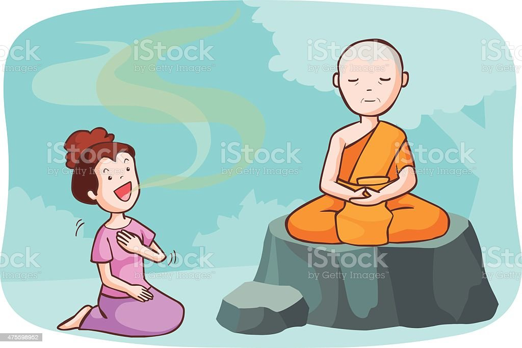 monk take meditate and the women talkative vector vector art illustration