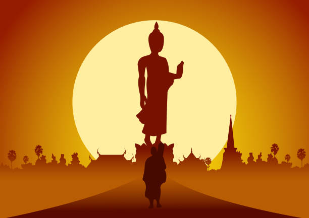 monk walk out of temple pilgrimage the road to make merit in rural and forest. for peace silent and dharma in sunset big sun behind image of Buddha vector art illustration