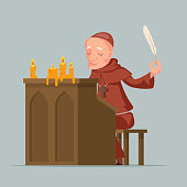 Monk write chronicles historical events writer scribe medieval stand feather pen ink scroll copy candles chronicler cartoon design vector illustration