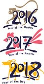 Vector template handwritten figures. Monkey 2016. Rooster 2017. Dog 2018. Symbols of the years on the Chinese calendar.