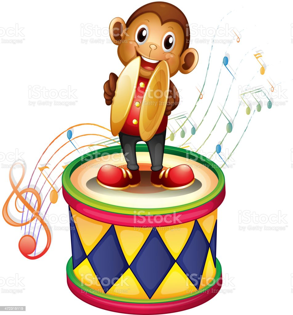Monkey above a drum with cymbals royalty-free stock vector art