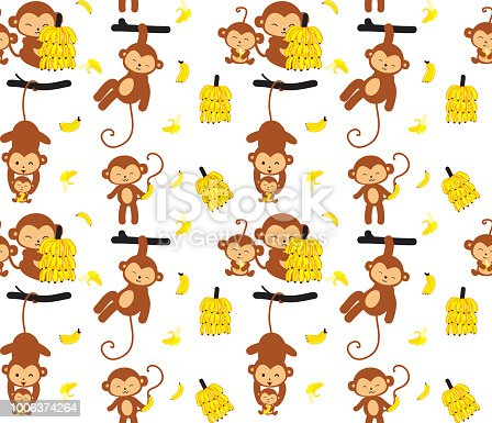 Monkey and banana seamless pattern. Cute hand draw animal wildlife character. Vector illustration in cartoon style. Childish ornament Great for fabric and textile
