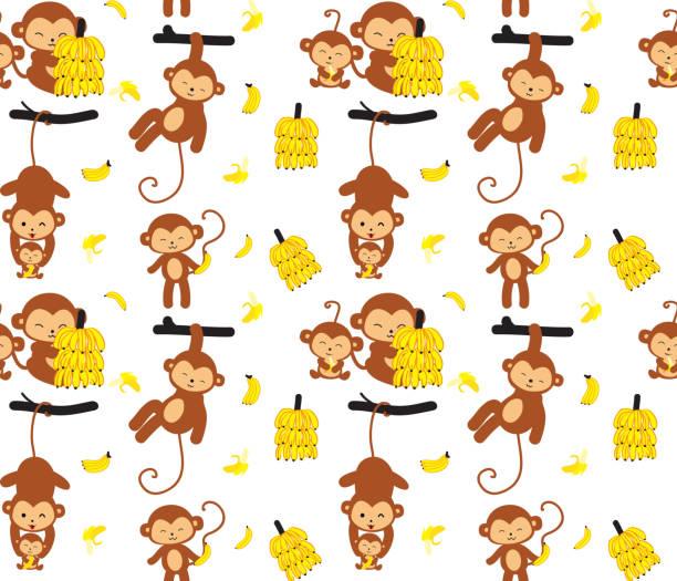 monkey and banana seamless pattern - monkey stock illustrations