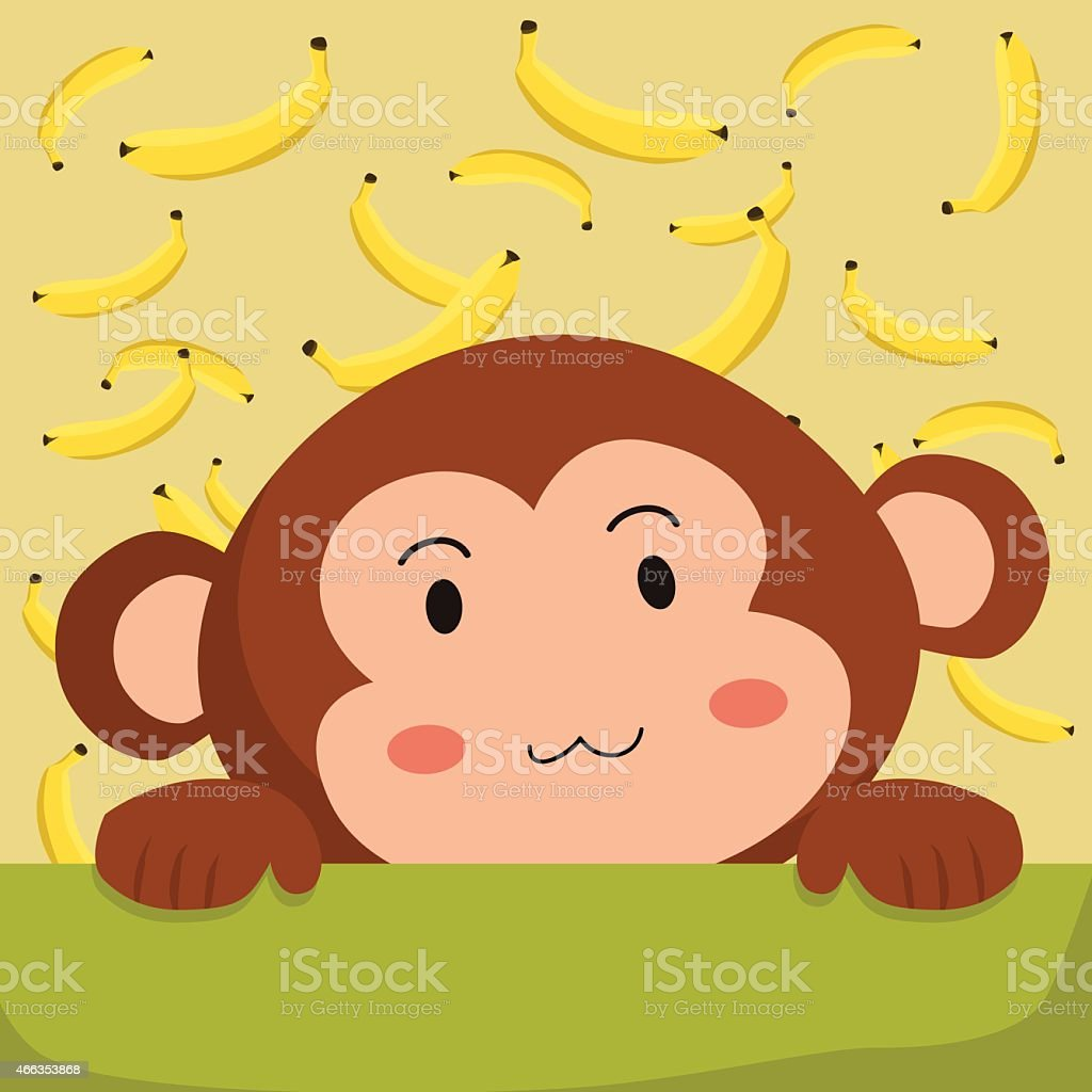 Monkey And Banana Stock Vector Art More Images Of 2015 466353868
