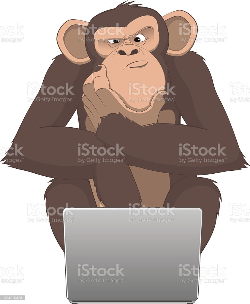 Monkey and computer royalty-free stock vector art