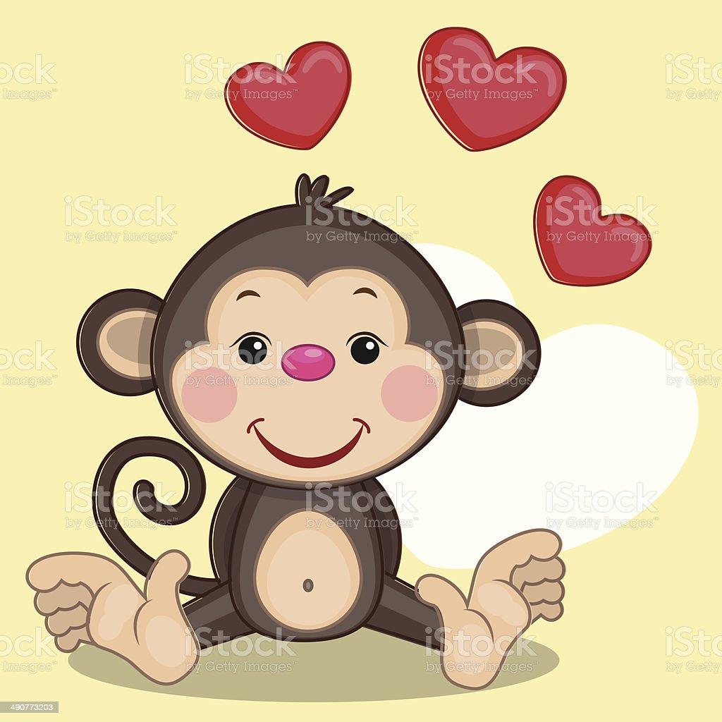 Monkey and hearts royalty-free stock vector art
