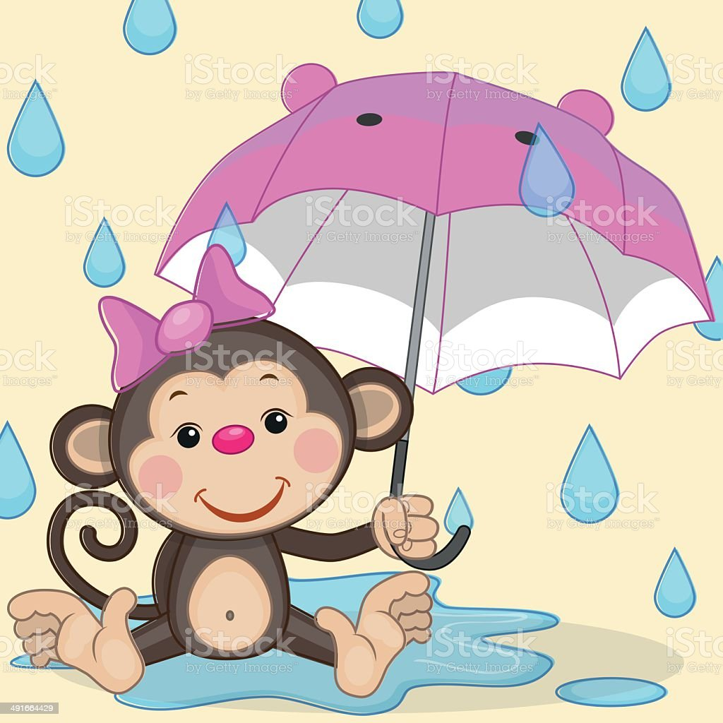 Monkey and umbrella royalty-free stock vector art