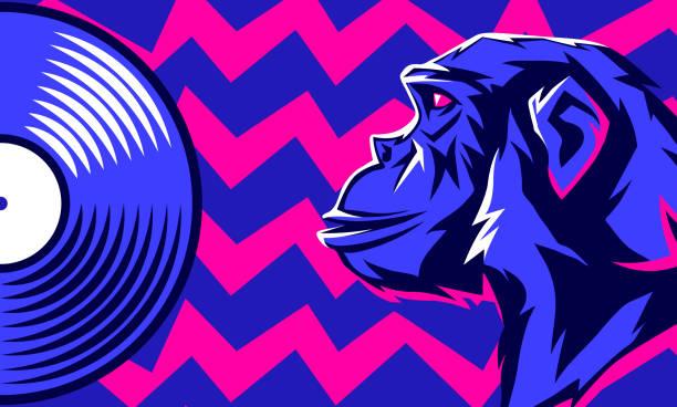 monkey and vinyl disc. - jungle stock illustrations
