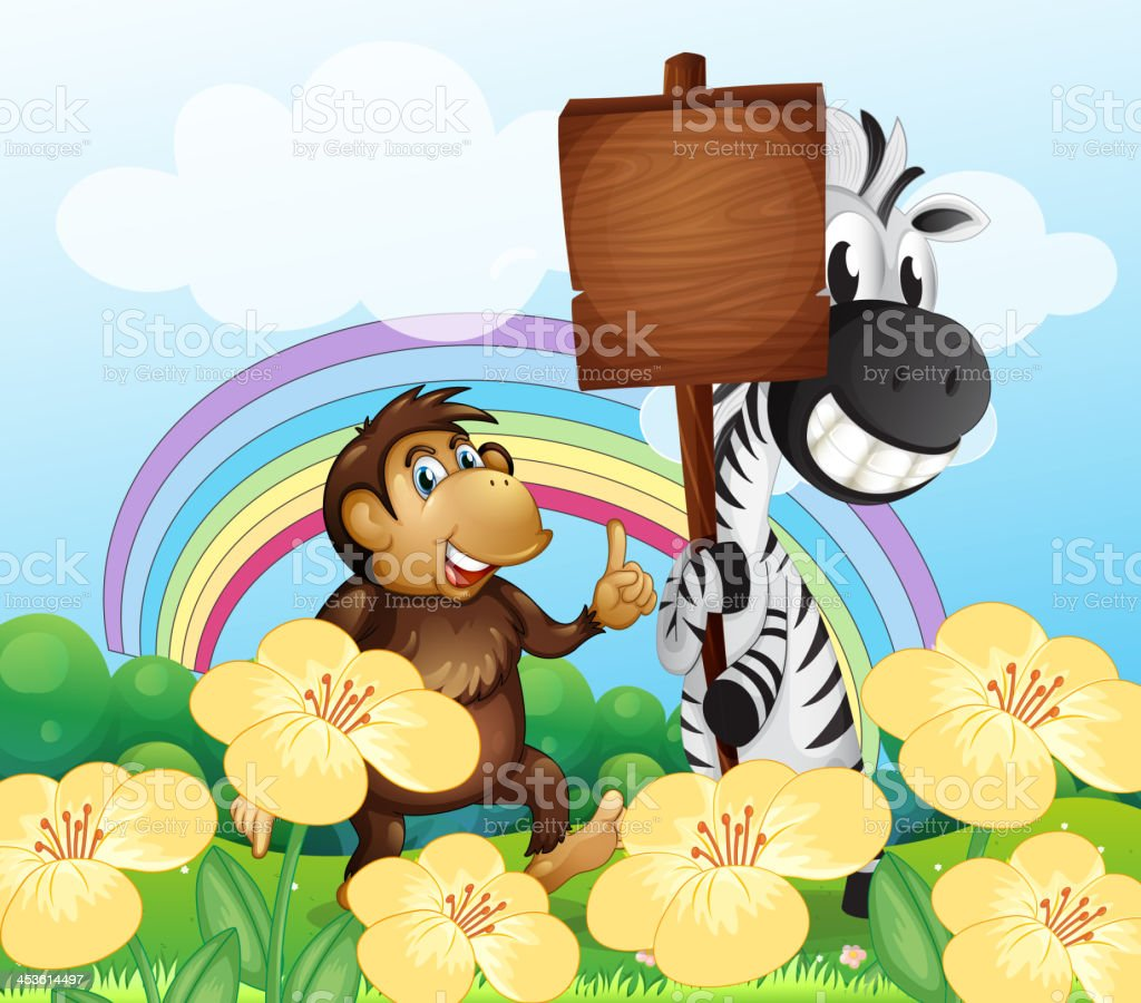 monkey and  zebra at  garden with an empty board