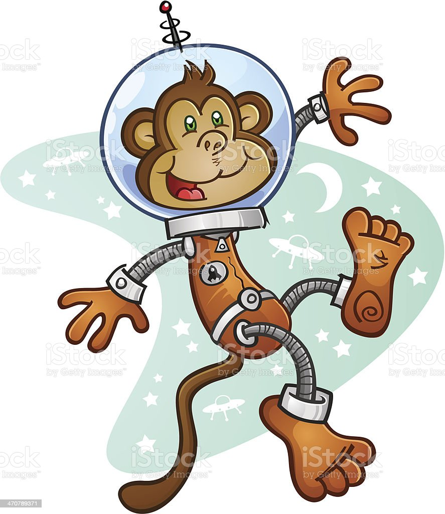 monkey astronaut cartoon character in a space suit stock vector