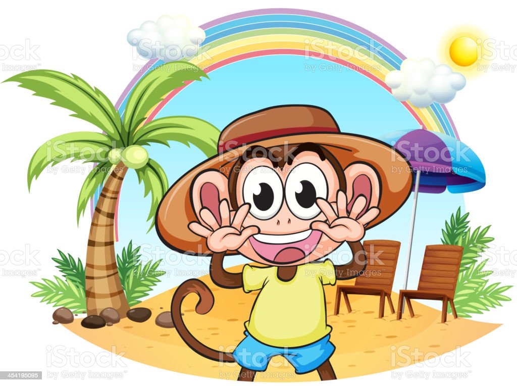 Monkey at the beach royalty-free monkey at the beach stock vector art & more images of animal