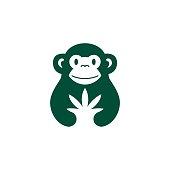 monkey cannabis hemp vector icon illustration