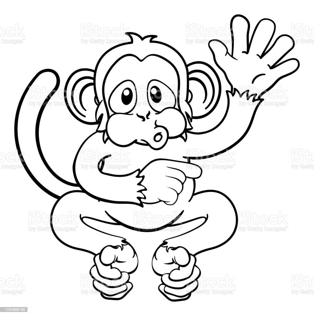 Affe Cartoon Tier Winken Und Zeigen Stock Vektor Art und mehr