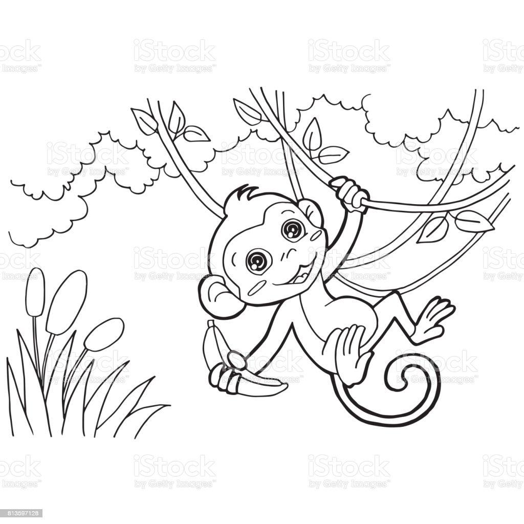 Ilustración De Páginas Para Colorear De Mono De Dibujos Animados