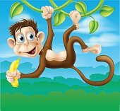 Monkey cartoon in jungle swinging on vine