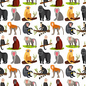 Monkey character animal breads seamless pattern background wild zoo ape chimpanzee vector illustration
