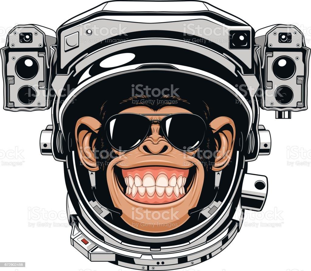 Monkey cheerful astranavt vector art illustration