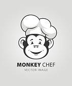 Monkey chef head character mascot