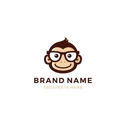 monkey chimp geek smart charm mascot character template vector icon