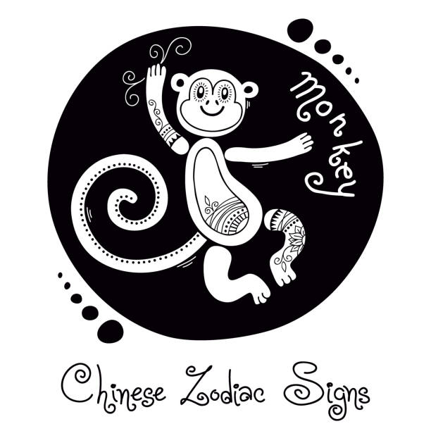 monkey. chinese zodiac sign - wildlife calendar stock illustrations, clip art, cartoons, & icons