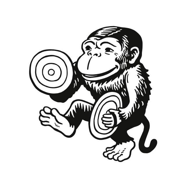 monkey clanging cymbals - talerz perkusyjny stock illustrations