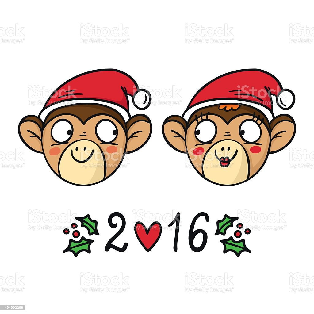 Monkey couple in santas hats chinese new year 2016 symbol stock monkey couple in santas hats chinese new year 2016 symbol royalty free monkey couple buycottarizona Gallery