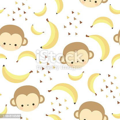 monkey animal banana vector illustration background