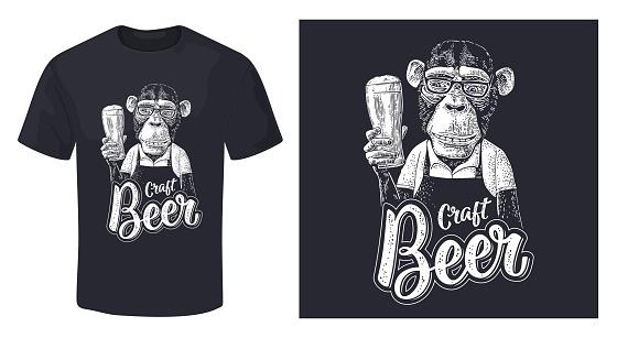 Monkey dressed apron hold beer glass. Vintage black engraving