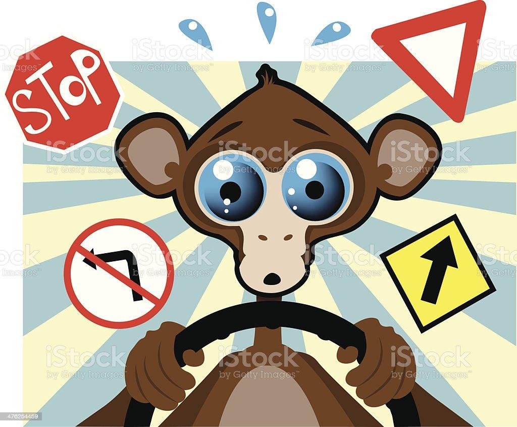 Monkey Driver royalty-free stock vector art