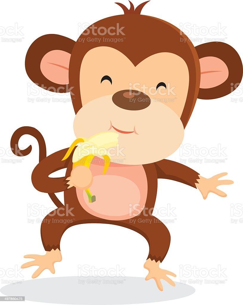 Monkey eating banana royalty-free stock vector art