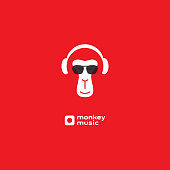 Monkey enjoys the music. Relaxing monkey in headphones and sunglasses. Logo for music studio. Album cover.