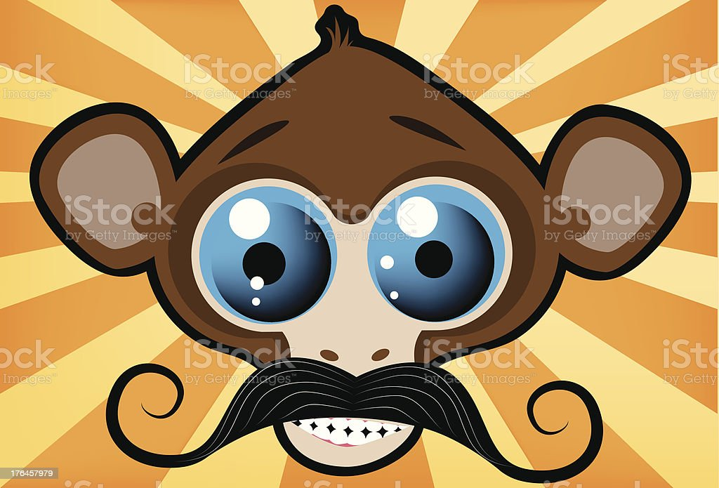 Monkey Face with Mustache royalty-free stock vector art