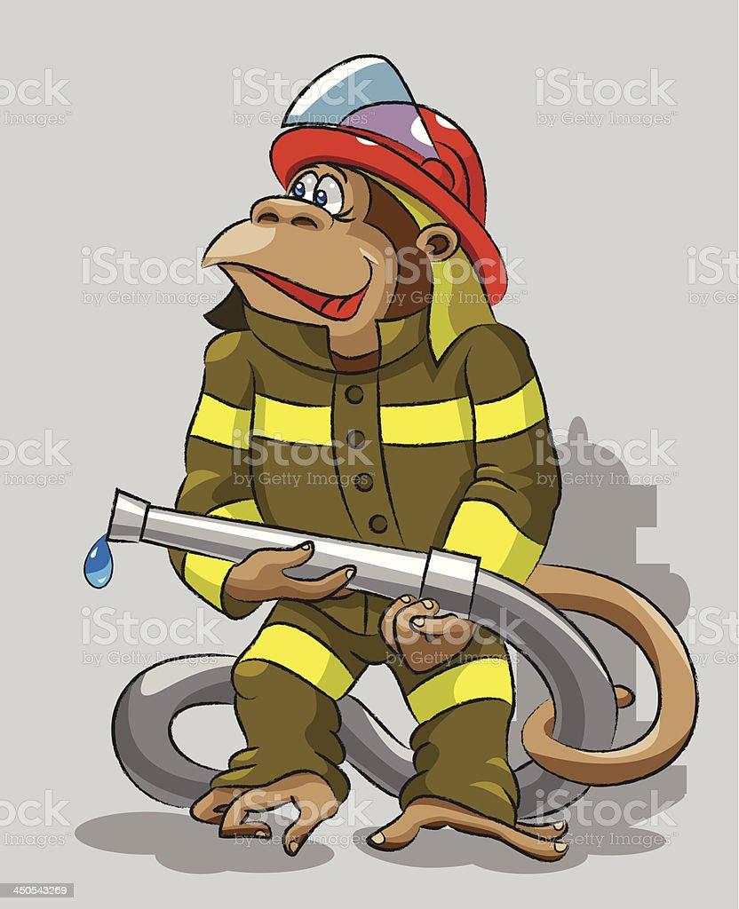 Monkey -  fireman royalty-free stock vector art